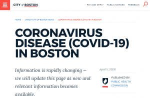 The latest information and updates about the CORONAVIRUS DISEASE (COVID-19) IN BOSTON