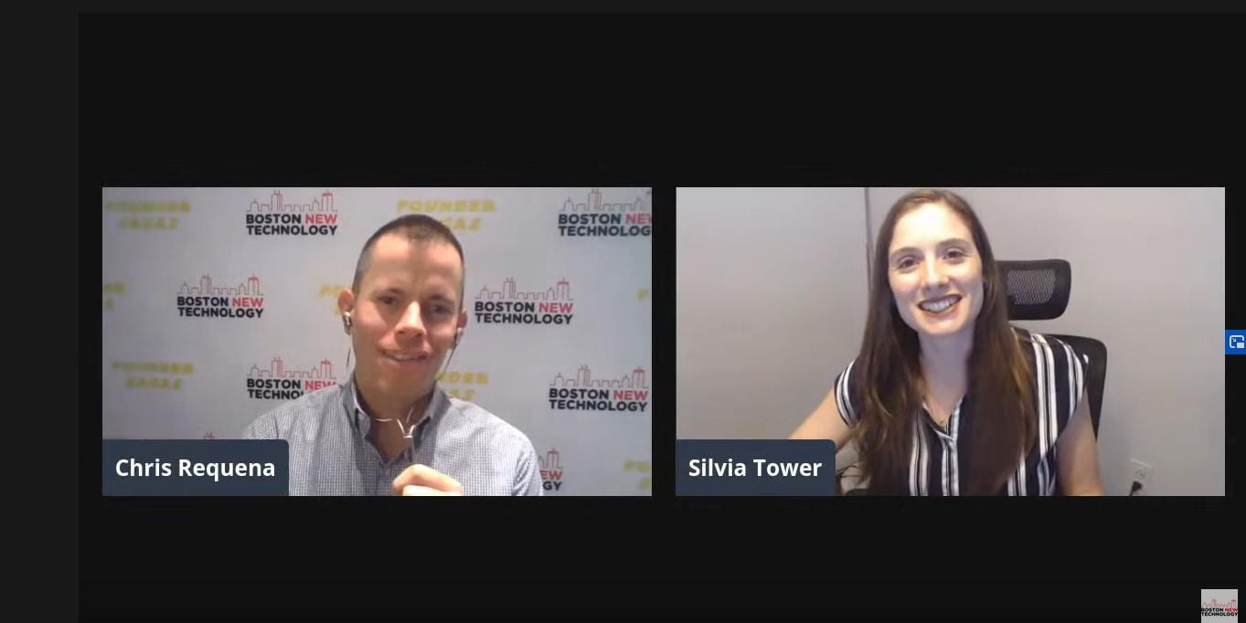 """Leveraging Technology to Enhance Charitable Fundraising"" with Silvia Tower, Founder, NomaYoga with Chris Requena on left"